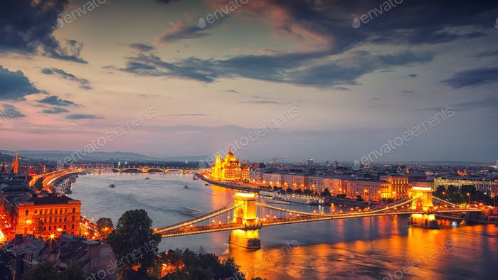 Budapest city night scene. View at Chain bridge, river Danube an