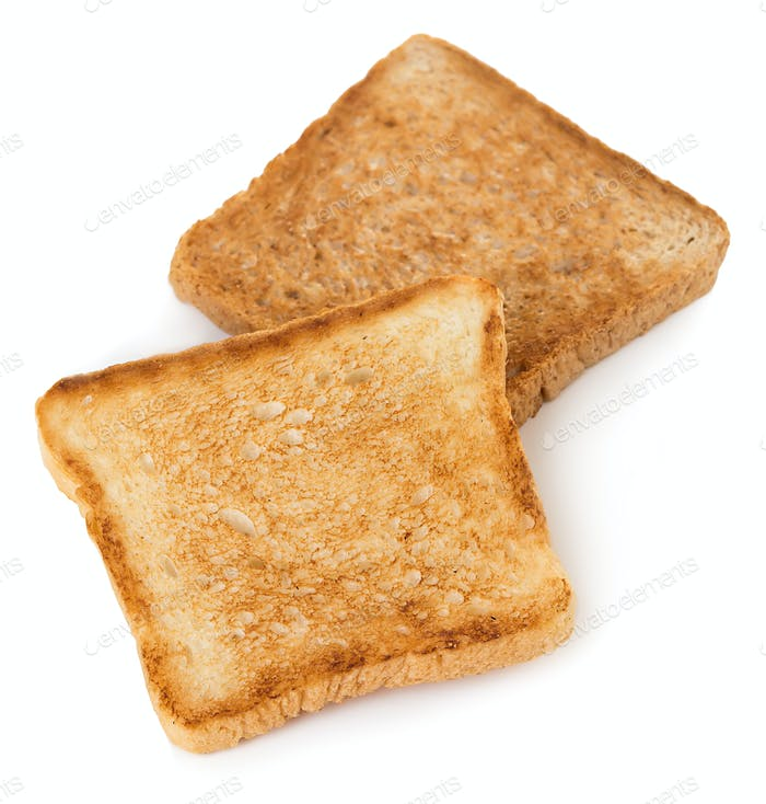 Slices of toast bread isolated on white background.