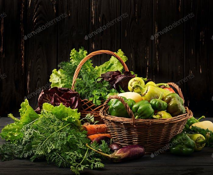 Sortiment von Gemüse und grünen Kräutern. Markt. Gemüse in einem Korb auf einem dunklen Hintergrund