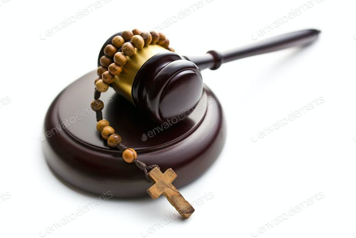 judge's gavel and rosary beads