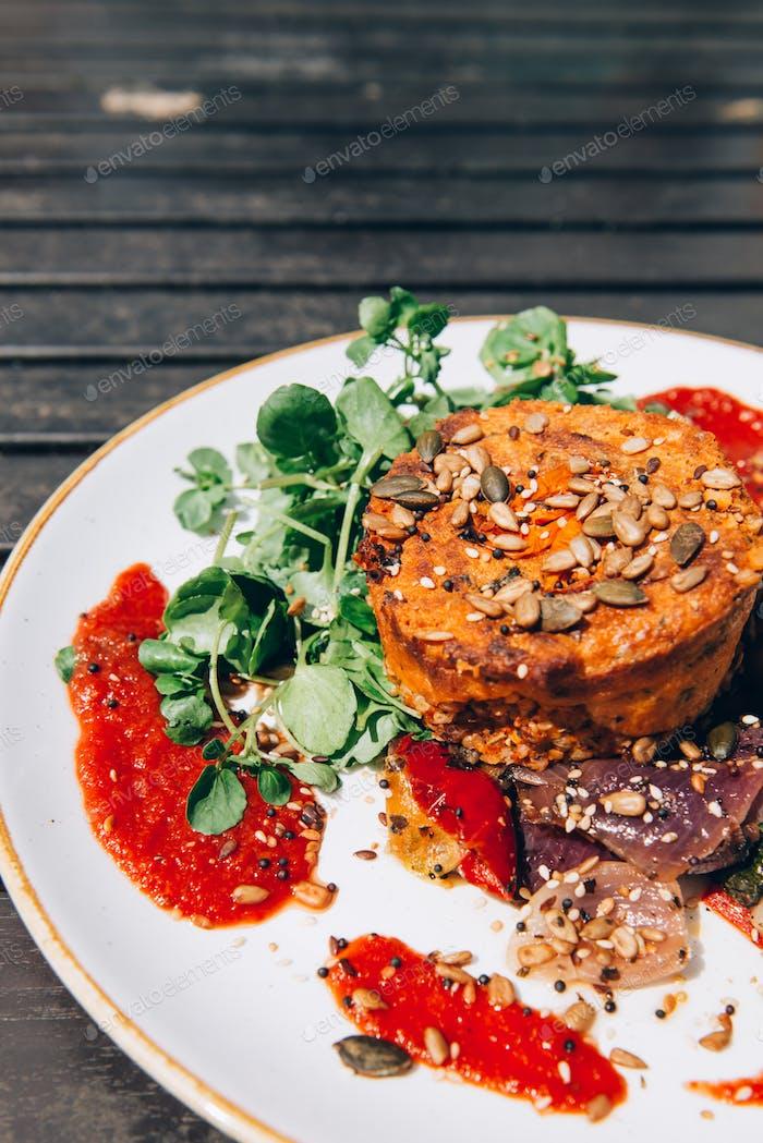 Vegetarian option of Sunday Roast in Pub