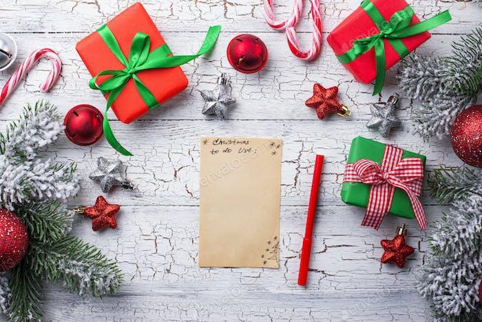 Weihnachten zu tun Liste und Geschenke