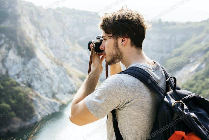 Kaukasier Mann fotografieren