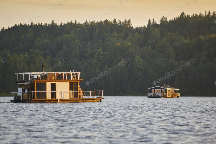 Sauna and spa cruise, Jyvaskyla city. Finland traditional lifestyle. Horizontal