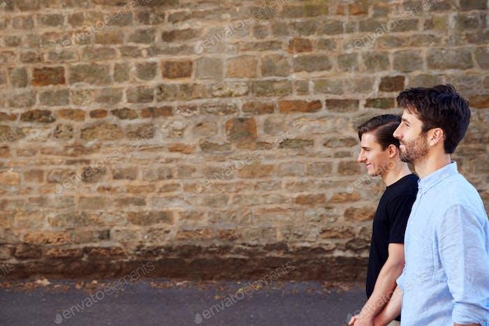 Seitenansicht von Männlich Homosexuell Paar auf Urlaub halten Hände zu Fuß entlang Stadt Straße