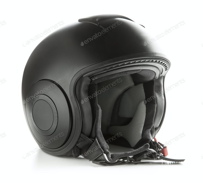 Black motorcycle helmet.