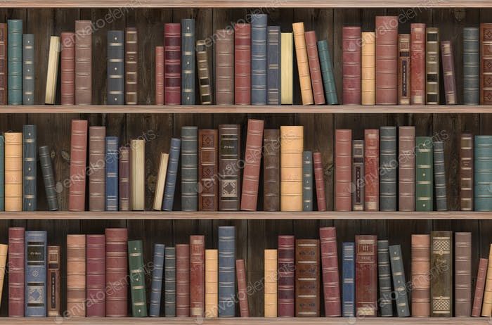 Vintage books on old wooden shelf. Old library or antique bookshop. Tiled seamless texture
