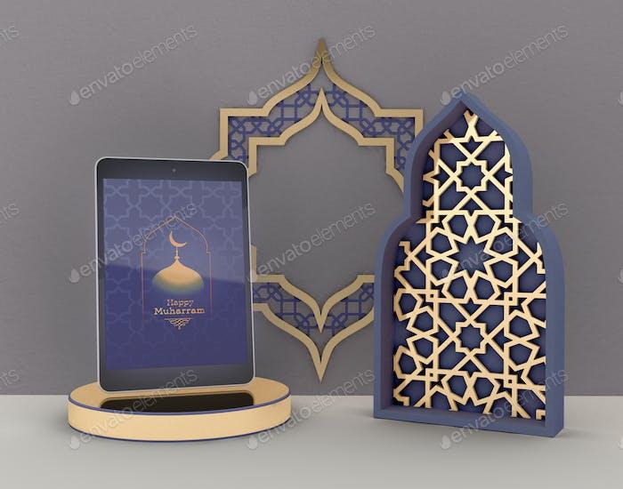 3D Illustration. Eid Mubarak. Muslime Community feier.