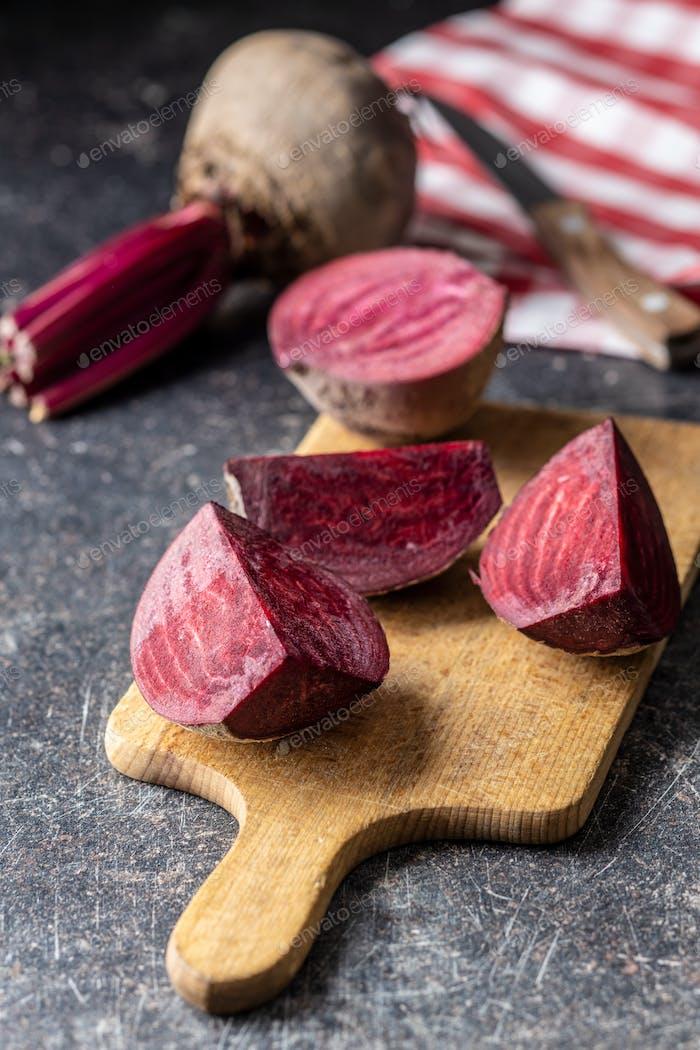 Sliced tasty raw beetroot.