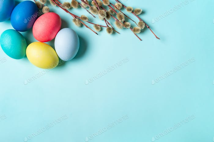 Colorful bright Orthodox Easter concept, copyspace