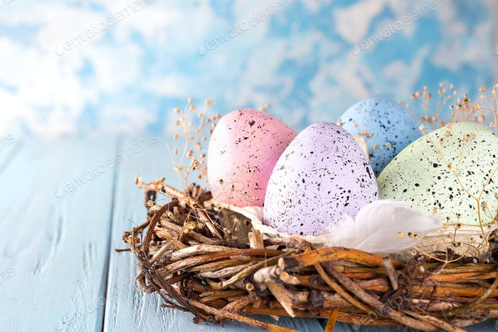 Easter colorful eggs in the nest on rustic blue wooden background, close up