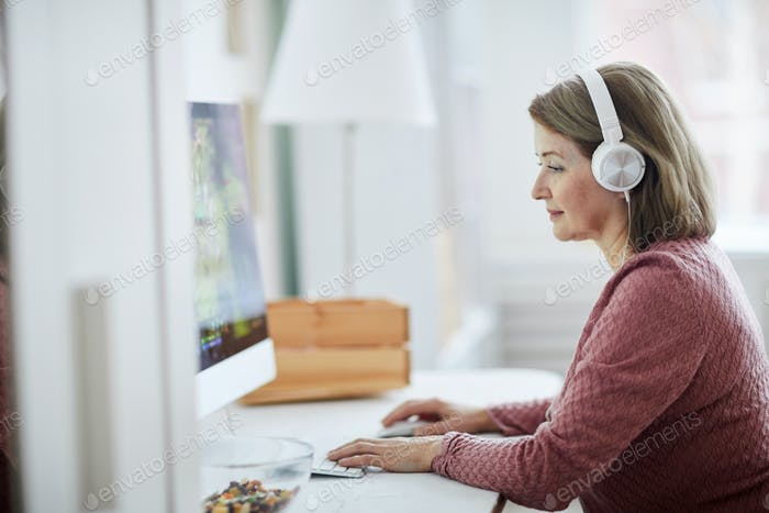 Adult Woman Using Computer