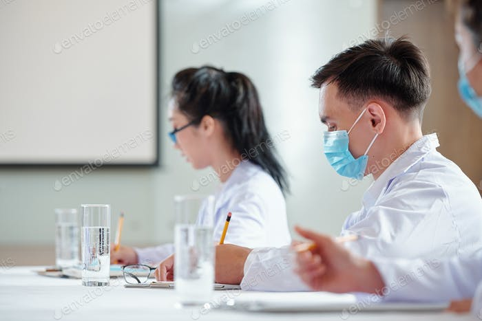 Young doctors attending lecture