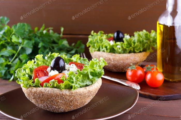 Gros plan de la salade grecque