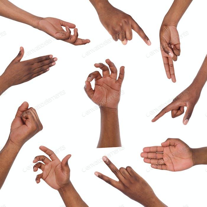 Set von verschiedenen Handgesten isoliert auf weiß