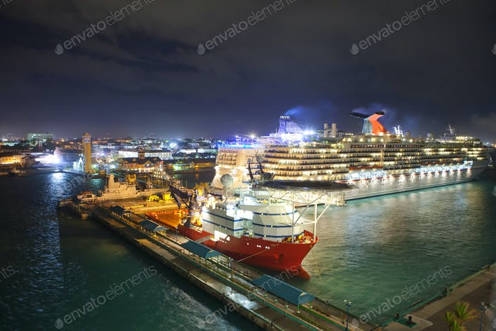 por of nassau, bahamas at night