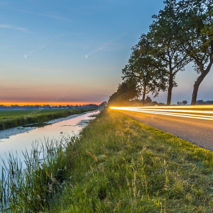 Netherlands open polder landscape traffic lights