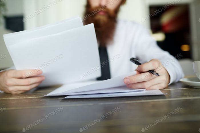 Reading business papers