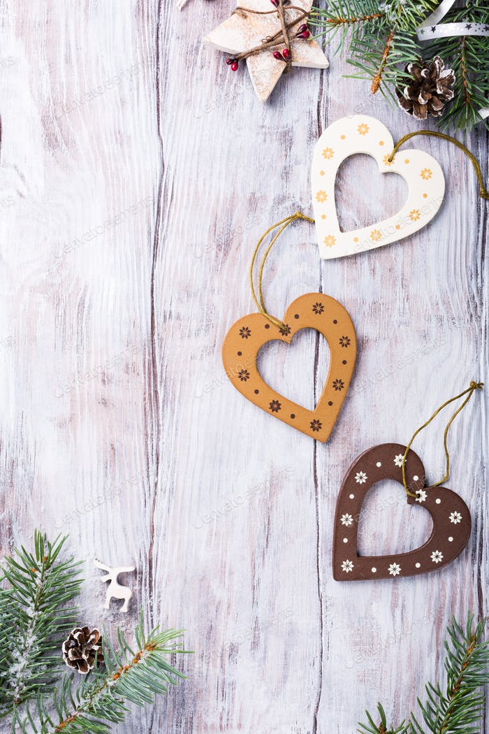 Christmas composition with wooden hearts