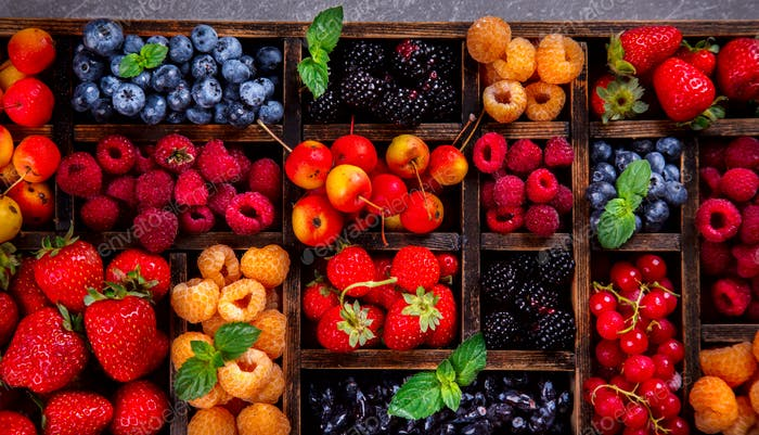 Various fresh summer Berries background .Food or Healthy diet concept.