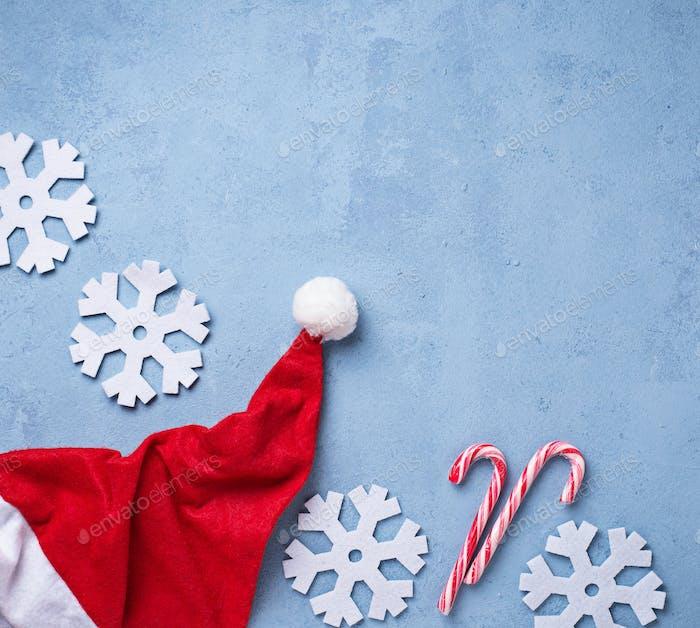 Fondo de Navidad con sombrero de Papá Noel