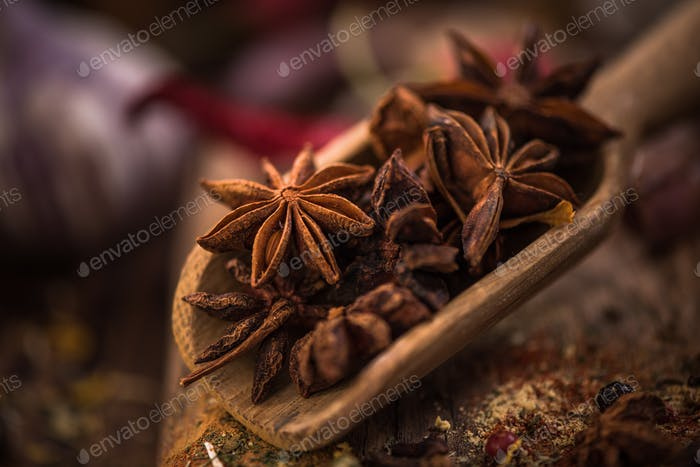 Whole anise stars on wooden spoon