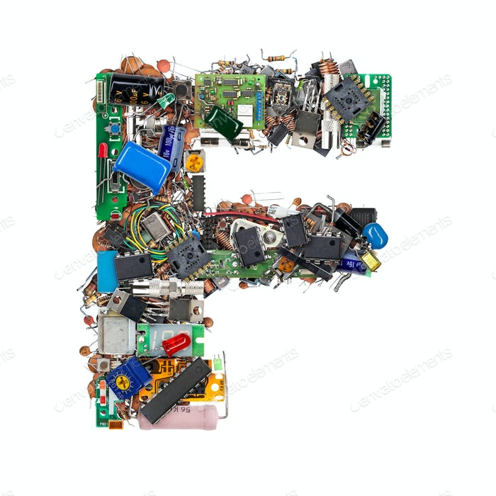 Letter F made of electronic components