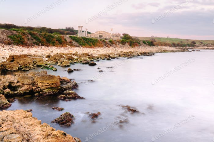 Abandoned rocky shore near the sea, Chersonese