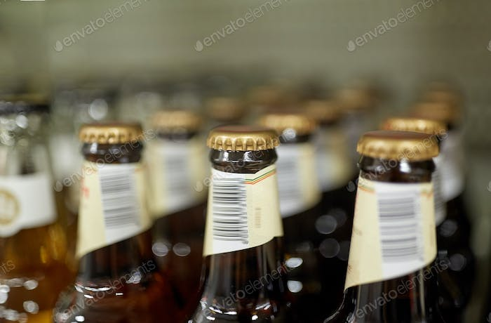 close up of bottles at liquor store