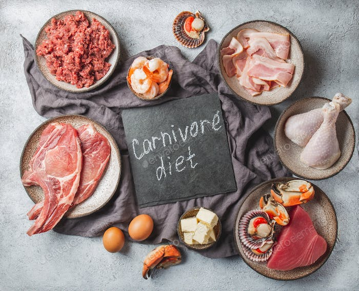 Carnivore diet concept. Raw ingredients for zero carb diet