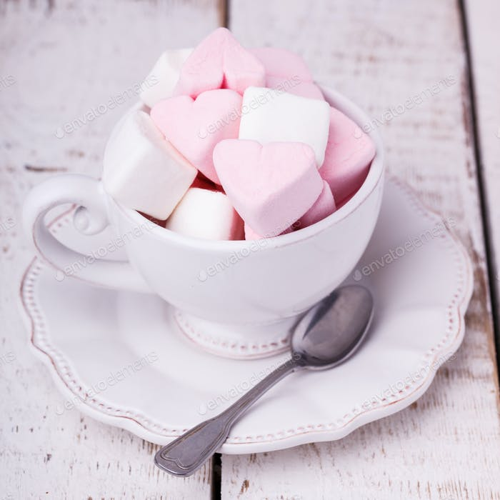 Cup with marshmallows holiday Valentine's day