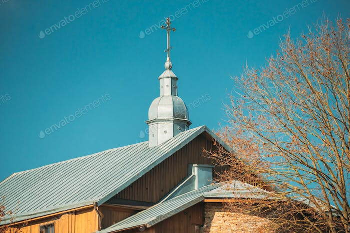 Grodno, Belarus. Kalozha Church In Sunny Autumn Day. Close Up Details Of Church of Sts. Boris and
