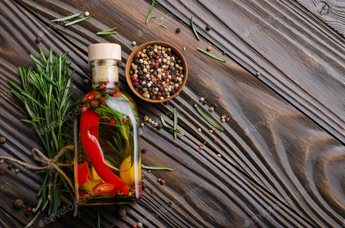 Flat lay Food background frame made of oils condiments and spice