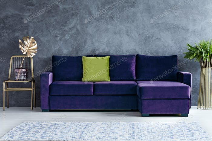 Green and purple living room