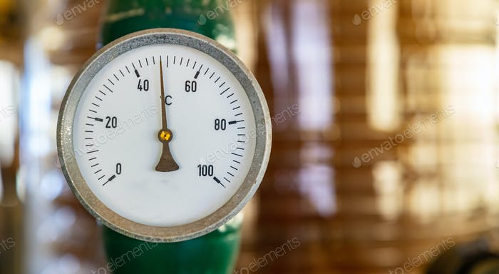 Temperature gauge, celsius scale, old, dial, blur industrial background