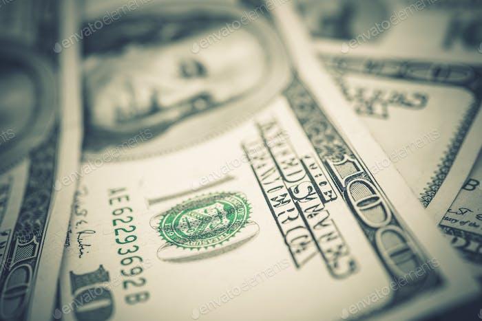 US Dollars Banknotes Closeup