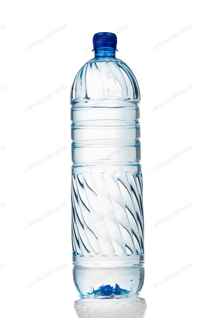 Single refreshing mineral water in plastic bottle in vertical or