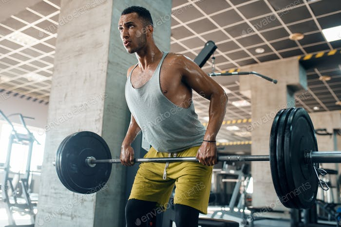 Athletic man doing exercise with barbell in gym