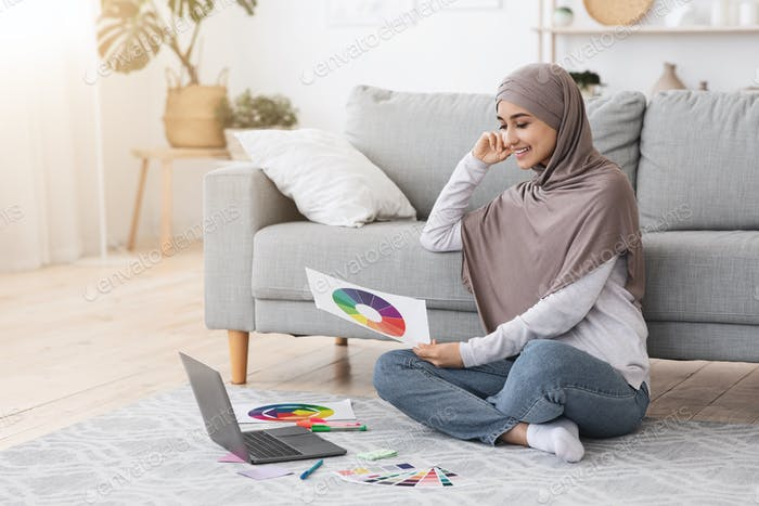 Online Design Courses. Arab Woman With Colour Gamma And Laptop At Home