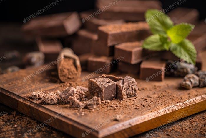 Broken homemade chocolate