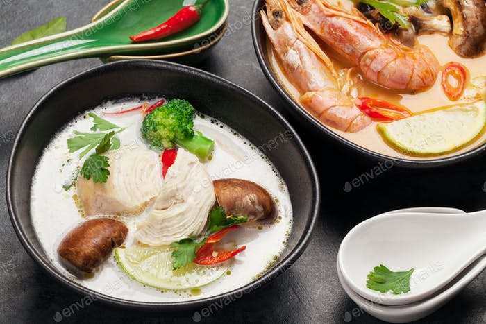 Tom Yum und Tom Kha traditionelle thailändische Suppen