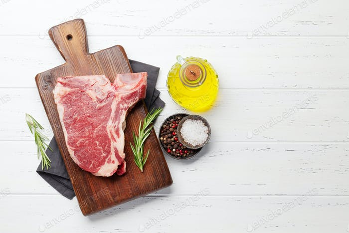 Raw T-bone beef steak