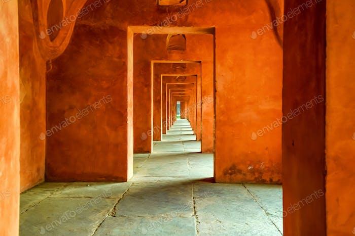 Beautiful view of hallway at Taj Mahal in India
