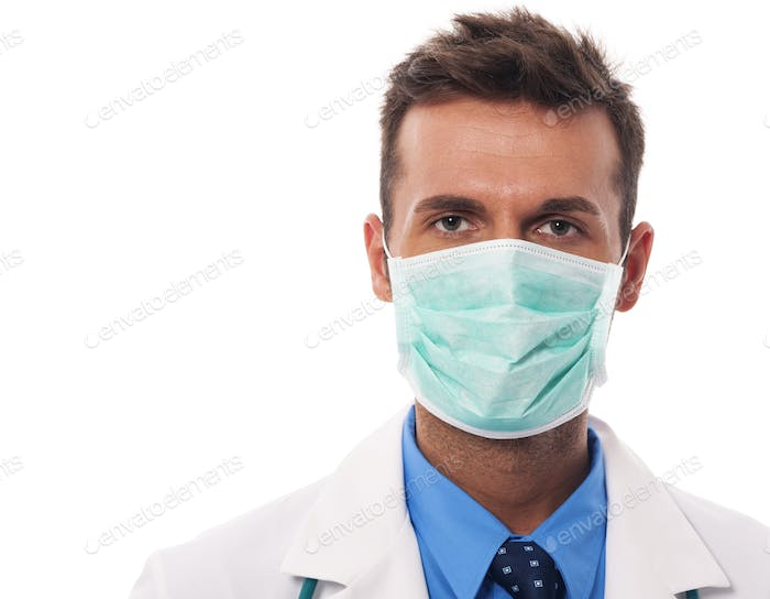 Portrait of male doctor wearing surgical mask