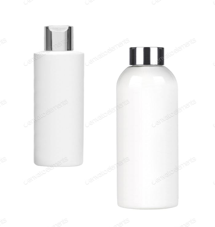 white shampoo bottles isolated on white