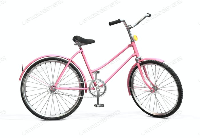Bicycle on a white background. Retro bike. 3d rendering.