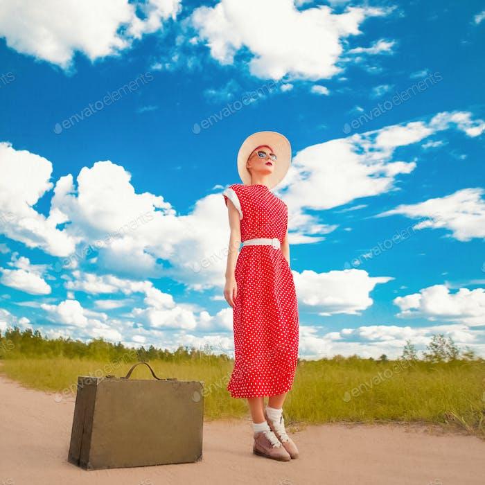 Reisen Retro Mädchen