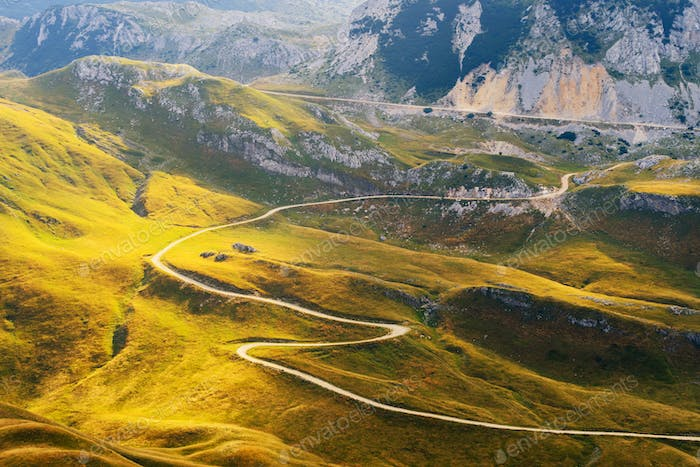 Mountain road in Dinaric Alps
