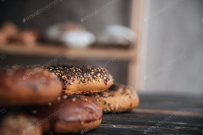 Pastries on dark wooden table background
