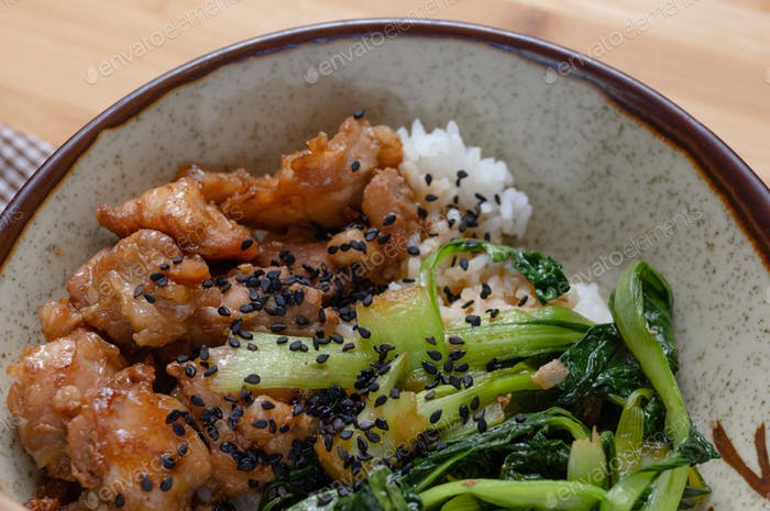 Chicken teriyaki with bok choy on rice